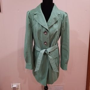 EUC Ann Taylor Green Belted Trench Coat - Medium